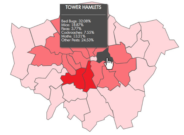 Pest Control Map Which London Boroughs Are Worst For Pests - London map of boroughs
